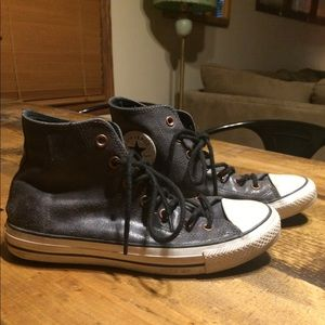 Converse Shoes   Grey Leather High Tops